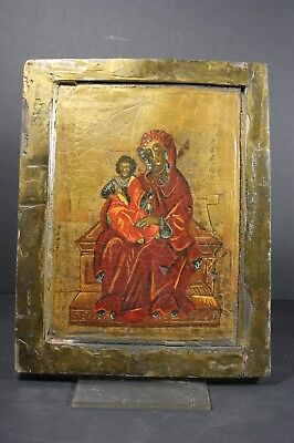 Mary with child, Byzantine wooden Icon - BALKAN - mid 20th century