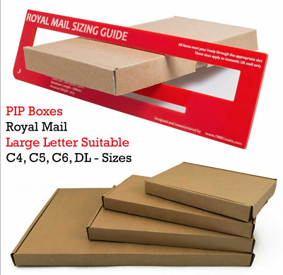 Brown PIP Boxes for Royal Mail post-Size C4/A4, C5A5, C6/A6, DL-Fast & Free deli