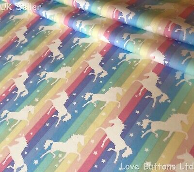 Rose And Hubble Pastel Rainbow Stripe And Unicorn Fabric 100% Cotton Fat Quarter