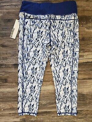 29930b84745ec NEW Mono b Athletic Yoga Cropped Capri Leggings Blue Tie Dye Women SIZE L