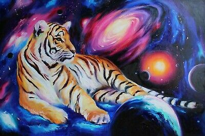 Tiger art Colorful animals oil painting on canvas Space art Night stars painting