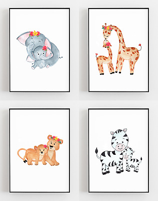 Mother And Baby Prints Nursery Safari Posters Kids Bedroom