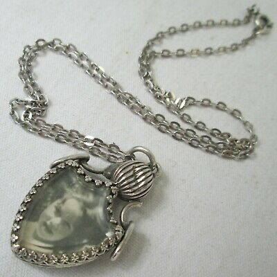 Antique Edwardian Sterling Silver Double Photo Locket Pendant Necklace 1903
