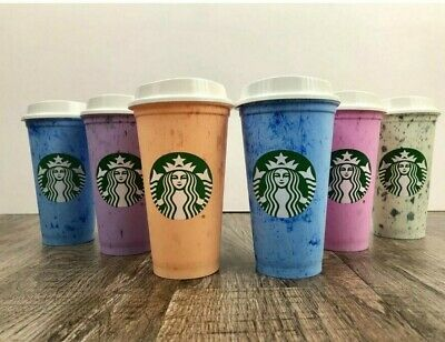 Starbucks Reusable Summer 2019 Collection Hot 6 Pack Set NOT Color Changing 16oz