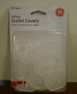 GE Safety 30 Pack of Clear Plastic Electric Outlet Covers - Child Safety NEW