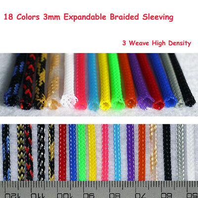 Color 3mm Expandable Braided DENSE Sleeving Cable Auto Wire Harnessing/Sheathing