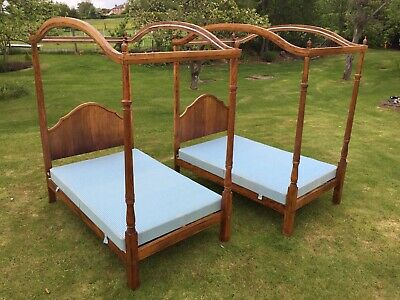 Antique Pair Oak Four Poster Beds With Drapes 4ft Small Double Large Single