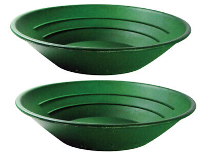 "10"" Green Plastic Gold Pan Mining Dredging Prospecting River Panning PACK 2"