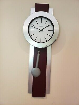 Howard Miller Pendulum Quartz Wall Clock Merlot Cherry Brushed Nickel