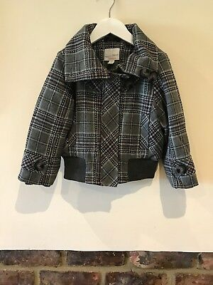Next Girls Checked Grey Coat/ Jacket Age 3-4 Years Very Good Condition