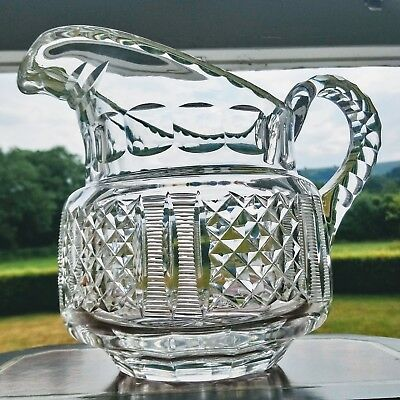 ANTIQUE Anglo Irish Blown Cut Glass Large Georgian Victorian Water Juice Jug 2pt