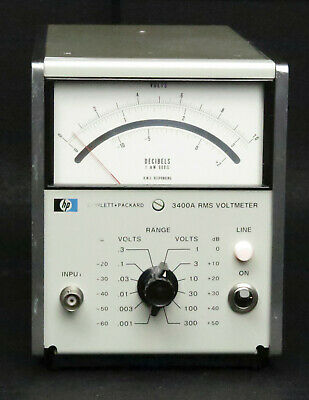 HP Keysight 3400A Analog RMS Voltmeter, 1mV-300V full scale solid state version