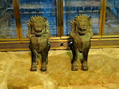 Pair of Antique Chinese Cambodia Asian Khmer Lion Foo Dog - Bronze Metal - Large