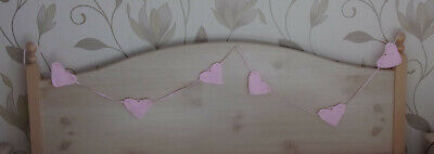"Baby bunting/garland/banner hand knitted pink hearts 87"" (221 cm) long"