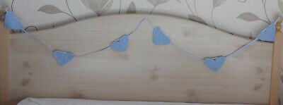 "Baby bunting/garland/banner hand knitted blue hearts 87"" (221 cm) long"