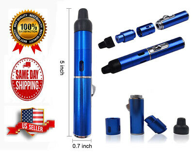 Portable Metal All in One Pipe with Lighter, Click-n Hit, Color Bue