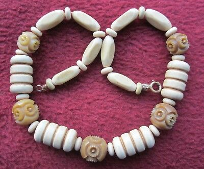 ART DECO bakelite? plastic carved beads necklace: faux bone cream/ beige colours
