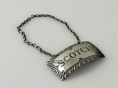 Stieff Williamsburg Sterling Silver Scotch Decanter Label Tag - 1 7/8""