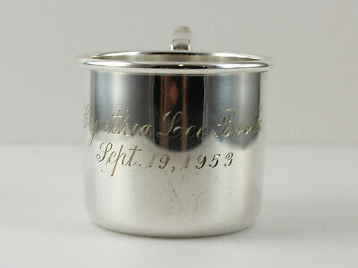 """Sterling Silver Signed B&M #22 Baby Communion Cup  - 2 1/8""""- w/Monogram"""
