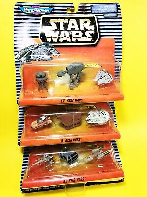 STAR WARS II, III, IV MICRO MACHINES 3 SEALED Packs LOOK! (9 new pieces) DS#75