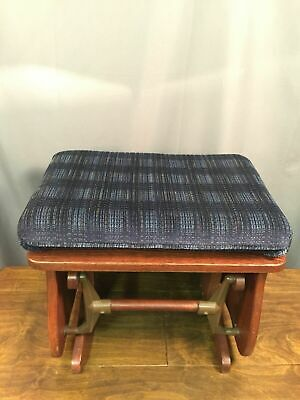 Rocking Ottoman Replacement Glider Footrest Wood Design With Blue Cushion