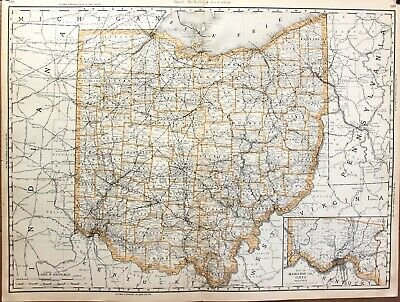 """1888 Large Format 2 Page Rand McNally Atlas Map the State of Ohio  27"""" x 20"""""""