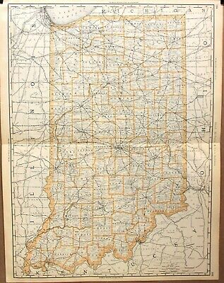 """1888 Large Format 2 Page Rand McNally Atlas Map of Indiana  27"""" x 20"""""""