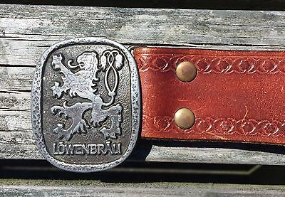 Vintage Lowenbrau Belt Buckle With Hand Tooled Leather Belt