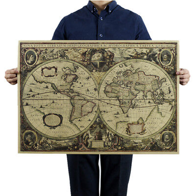 Retro World Map Nautical Ocean Map Vintage Kraft Paper Poster Wall Decor Jc