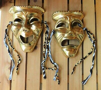 Vintage 2 Solid Brass Comedy & Tragedy Face Masks Wall Art India Theater Masks