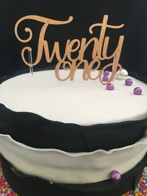 Customised Colour Glitter Twenty One 21 Birthday Cake Topper 21st Rose Gold