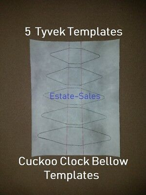 "Cuckoo Clock Bellow Repair Material ""TYVEK"" Paper ""TEMPLATES"" - 5 Popular Sizes"