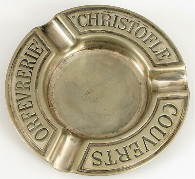 Rare Antique Christofle Palace Hotel Guatemala Heavy Silver Plated Ashtray !!