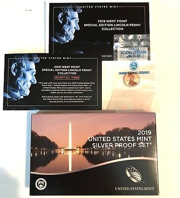 .2019-10 Piece Silver Mint Proof Set + 2019-W Reverse Proof Lincoln Penny + Coa