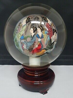 Vintage Crystal Ball Reverse Hand Painted Chinese Rotating On Stand