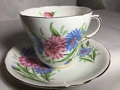 Made In England Bone China  Cup And Saucer   Cornflower Pattern