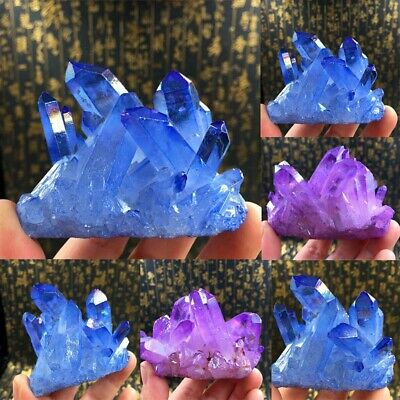 Natural Blue Purple Crystal Quartz Citrine Cluster Mineral Specimen Healing US