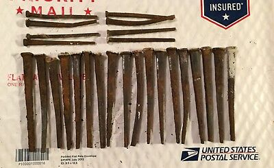 ANTIQUE Square Head Nails 18-4 inch AND 8-3 inch - Lot Of 26 TOTAL VINTAGE Nails
