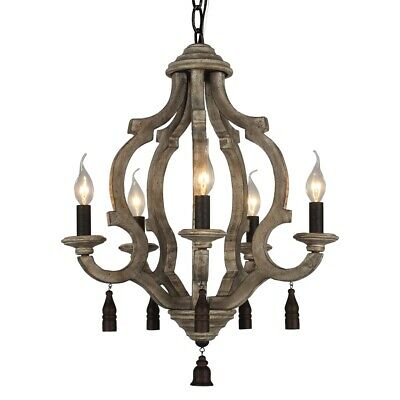 Rust Metal Wood Chandelier Vintage Ceiling Pendant 5-Light Wooden Kitchen Lamps