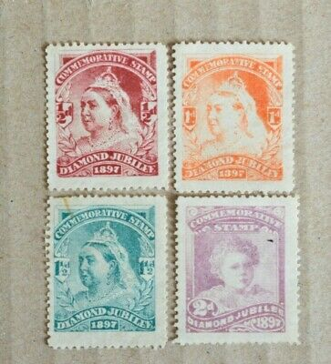 Set Of 4 Queen Victoria Diamond Jubilee 1897 Commemorative Cinderella Stamps