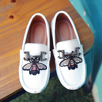 28-39 Kids Boys Girls Slip On Flat Loafers Leather Shoes Moccasins Boat Shoes