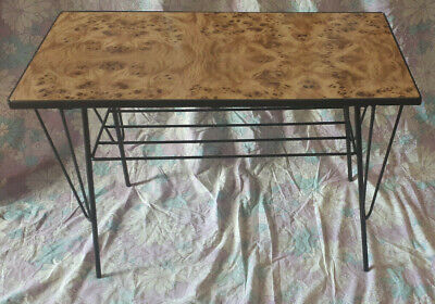 SMALL VINTAGE LAMINATE/STEEL COFFEE SIDE TABLE RETRO 60s mid-century
