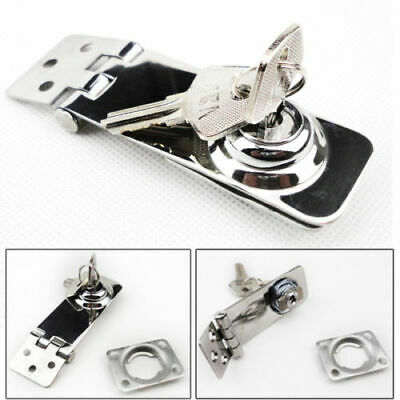 "Stainless Steel Security Hasp 3"" Padlock Door Lock With Key Clasp Shed Latch"