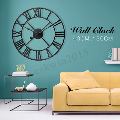Large Roman Numeral Wall Clock Metal Skeleton Numeral Round Shape 40/60cm Silent