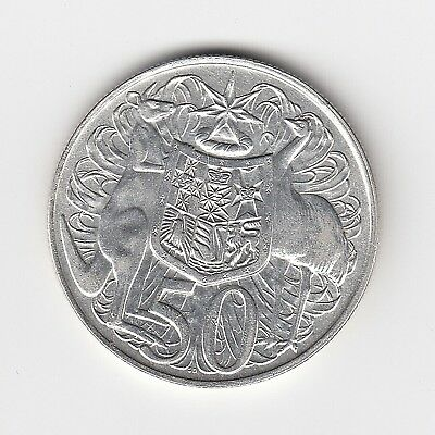 1966 Australia Round Fifty 50 Cent Coin - 80% Silver - Great Vintage Coin
