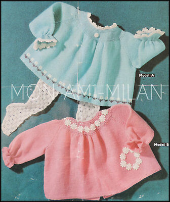 Vintage Knitting Pattern BABY GIRLS BABIES Pretty ANGEL TOPS 18-24 Months 3 Ply