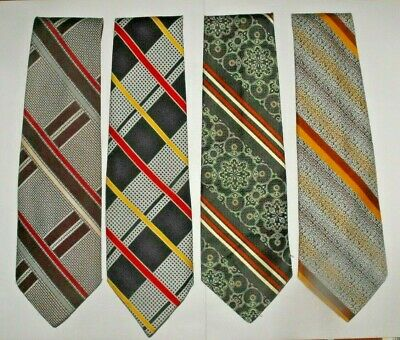 Lot of 4 Men's Neck Ties Retro Striped Assorted Colours Wide Vintage