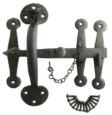 """Heavy Wrought Iron Suffolk Latch (8"""" / 20cm) - antique thumb rustic cottage bean"""
