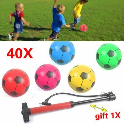 40pcs PLASTIC FOOTBALLS 8.5inch Flat Packed Uninflated With Free Hand Held Pump