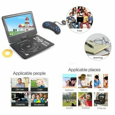 9'' Inch Portable DVD Player In Car 270° Swivel Screen USB SD Remoter Game Disc